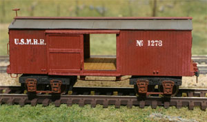 Alkem Scale Models Ridgid Bolster wood-beam truck on a BTS models Civil War boxcar